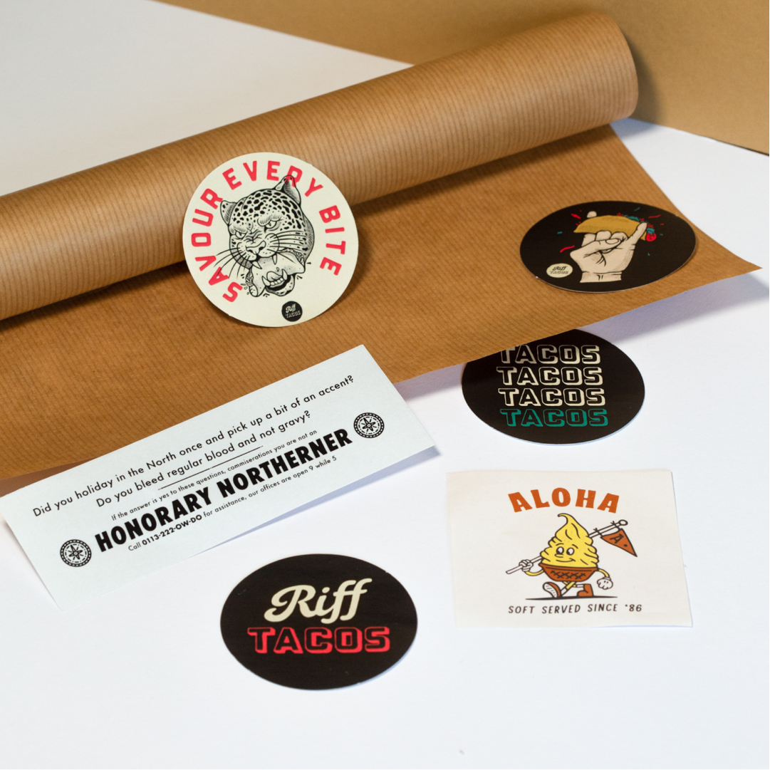 1000 x Paper Stickers for £50 - Choice of 7 sizes!