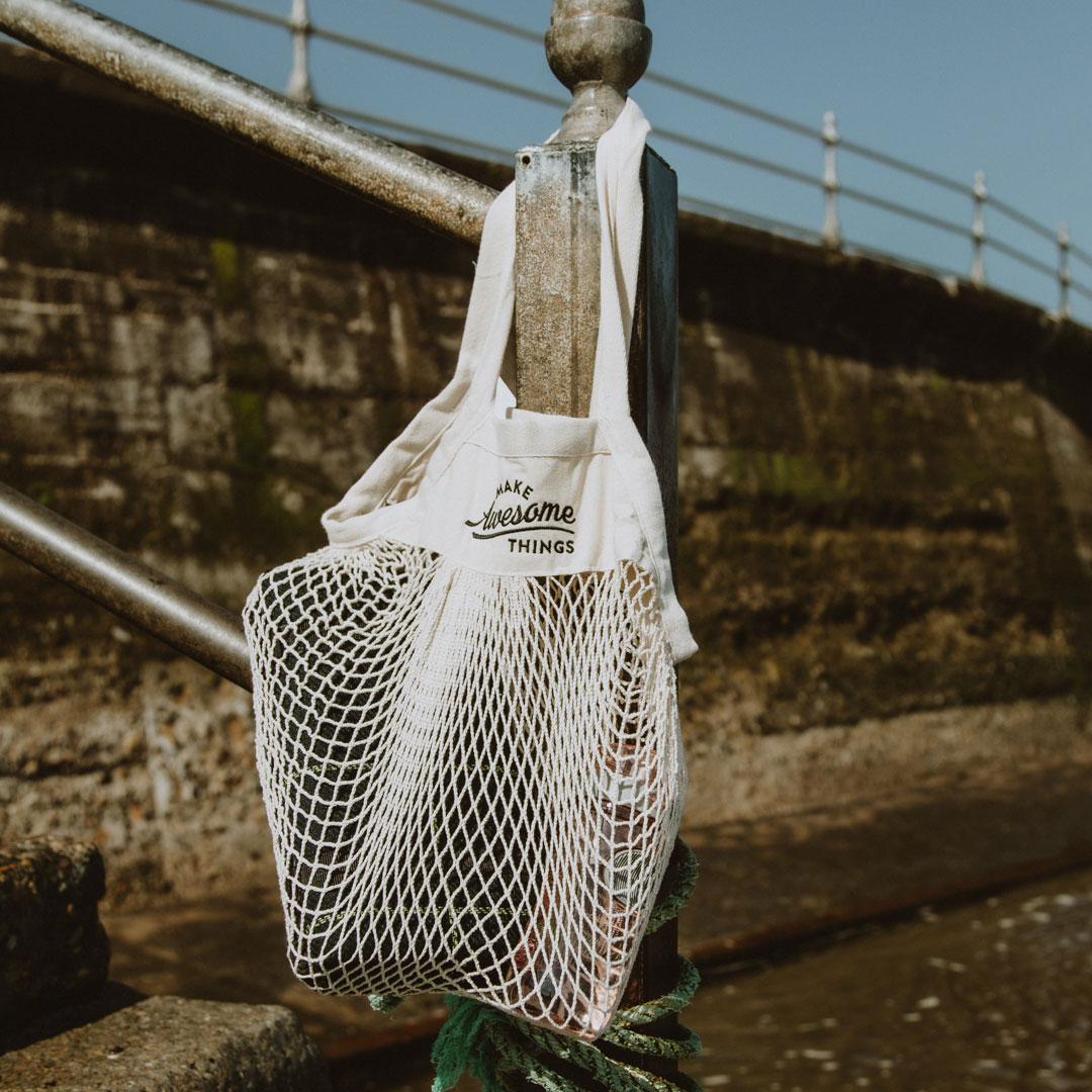 Embroidered Organic Cotton Mini Mesh Grocery Bags