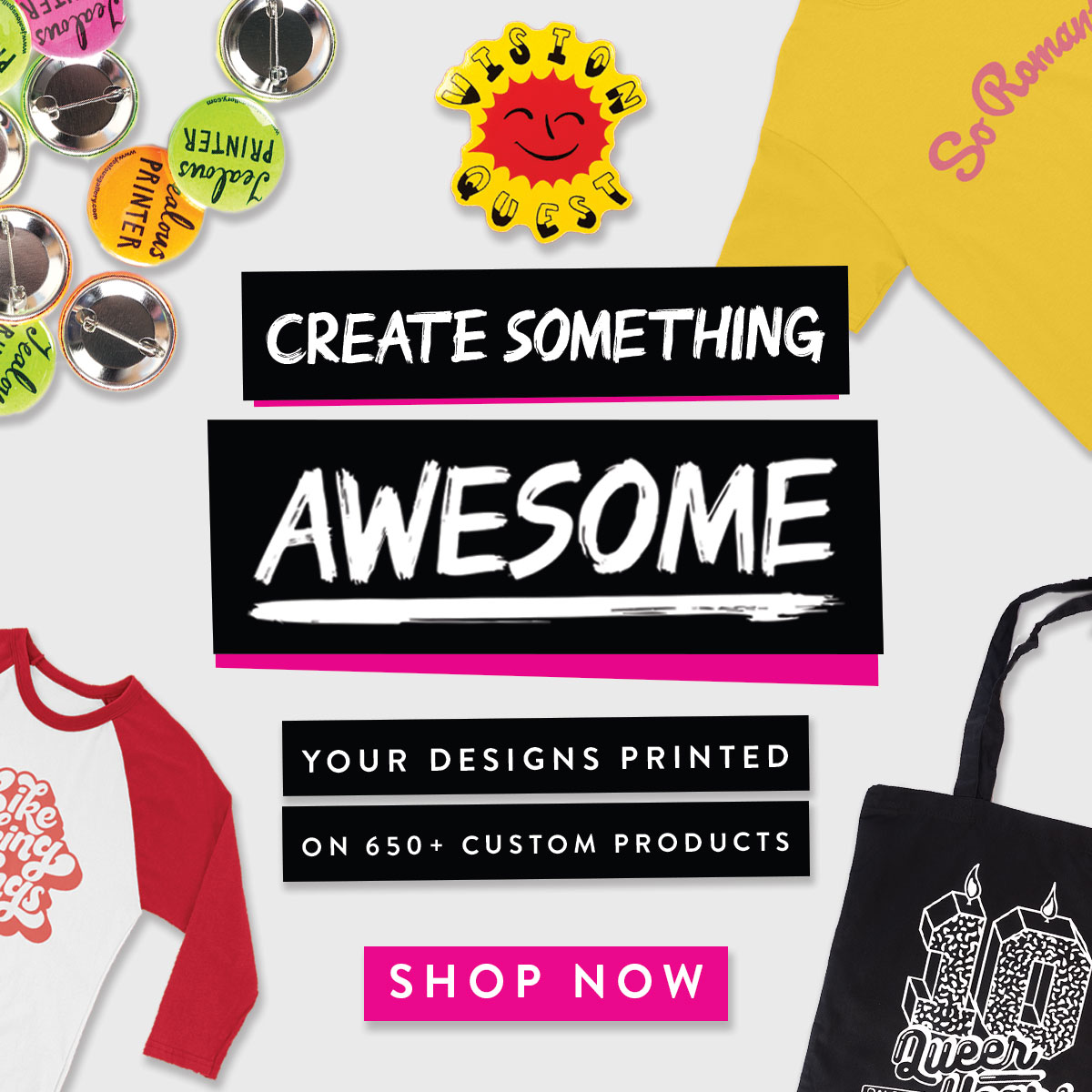 Awesome Merchandise | Custom Print, T-Shirts, Badges & much more